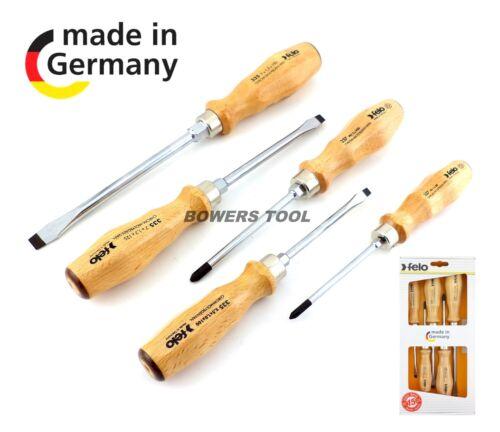 Felo 5pc en bois Jeu de tournevis 22155 wood grip Phillips Plat Fente Allemagne 335