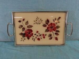 Tablett-Servierhilfe-Chromfarben-Hinterglas-Malerei-Floral-um-1950-Orginal-11b7
