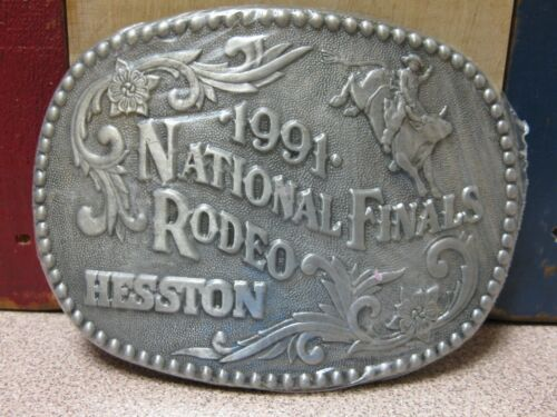 Vintage 1991 Hesston National Finals Rodeo Youth Size Belt Buckle FREE SHIPPING!