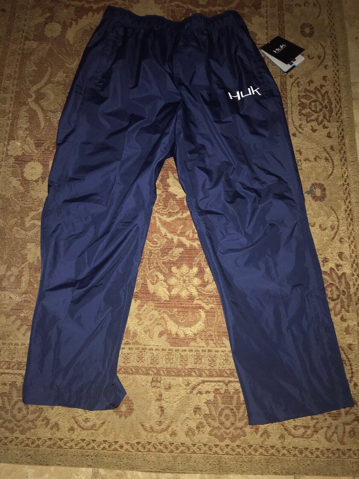 NWT  99 Mens HUK FISHING PERFORMANCE NAVY Blau PACKABLE RAIN PANTS Sz XXL