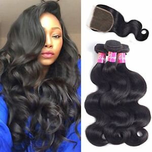 Body-Wave-Human-Hair-3-Bundles-with-Closure-4X4-Free-Part-Brazilian-Virgin-Hair