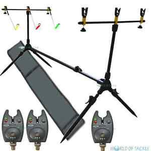 NGT Carp Fishing Rod Pod Set 3 x Black Bite Alarms Indicator Swingers /& Rests