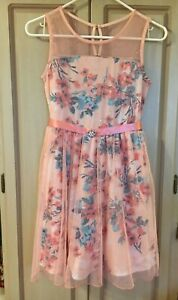 594987bb7e NEW... Lily Rose Girls dress beautiful peach with flower print size ...