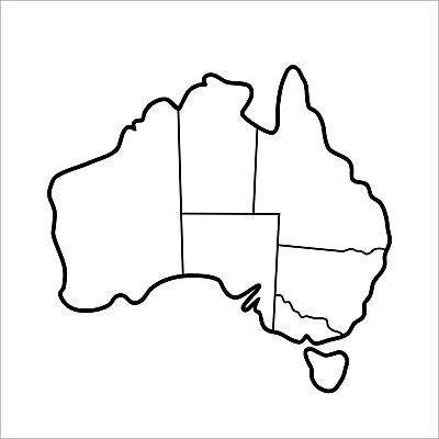 Map Of Australia With State Borders.Map Of Australia Sticker With State Borders 500mm Wide Ebay