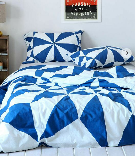 Cobolt Blau Geometric Abstract Queen Duvet Doona Bed Quilt Cover Pillow Slip Set