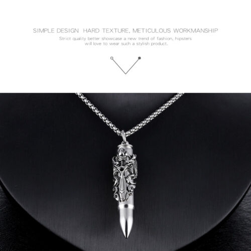 Fashion Stainless Steel Necklace Urn Dragon Bullet Pendant Necklace for Mens Boy