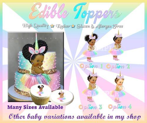 Unicorn Vintage BABY GIRL Edible Cake Topper Glaçage Sucre Papier photo Afro