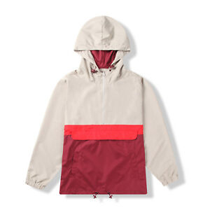 Men-Half-Zip-Pullover-Hood-Lightweight-Windbreaker-Front-Pocket-Jacket-Burgundy