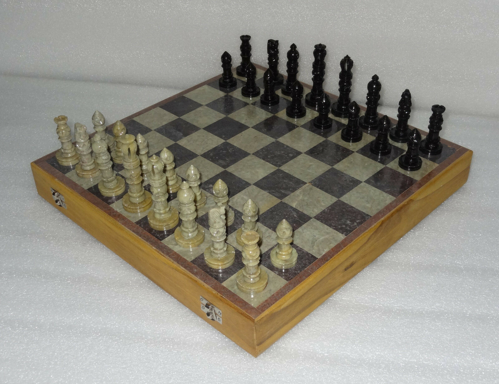 Marble 12  Wooden Box Chess Set Indian Hand Carved Stone Pieces Handmade Gifts