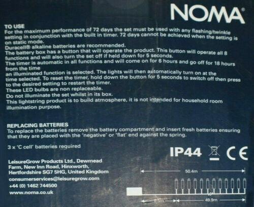Noma 300 String Multi blanc froid DEL Multi Fonction Batterie Lumières de Noël
