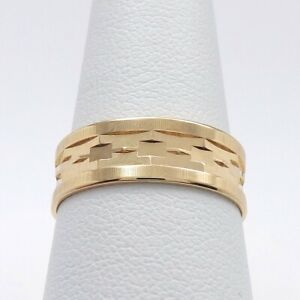 Vintage Faceted 14K Yellow and White Gold Band Ring Stacking Jewelry sz 8.5 Wedding Band