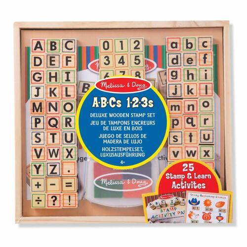 Sello de Alfabeto y Números de Madera de Lujo Set con almohadilla de tinta Melissa /& Doug