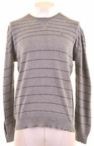 Levi Strauss & Co Herren Pullover Rundhalsausschnitt Pullover XL grau gestreift Baumwolle bt03