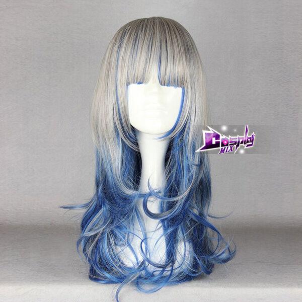 Harajuku Weiß mixed Hellblau Curly Langhaare Lolitta&Cosplay   Perücke  Wig