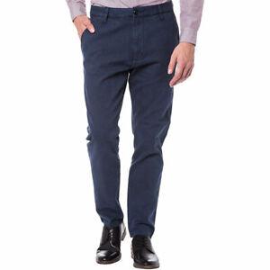 ARMANI-Jeans-6XP60-6-nbdz-Da-Uomo-Pantaloni-Chino-Blu-Slim-Fit-Casual-Piatti-Anteriore-Pantaloni