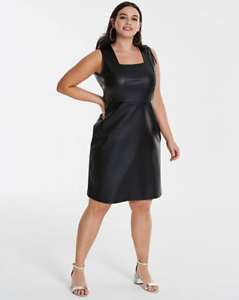 Black Pu A Line Midi Dress By Simply Be Uk Ladies Size 16 New With Tags Ebay