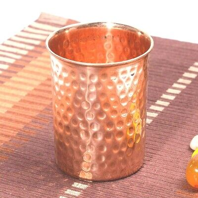 Pure Copper Drinking Glass Tumbler Mug with Lid 300 ml  Ayurveda Health yoga