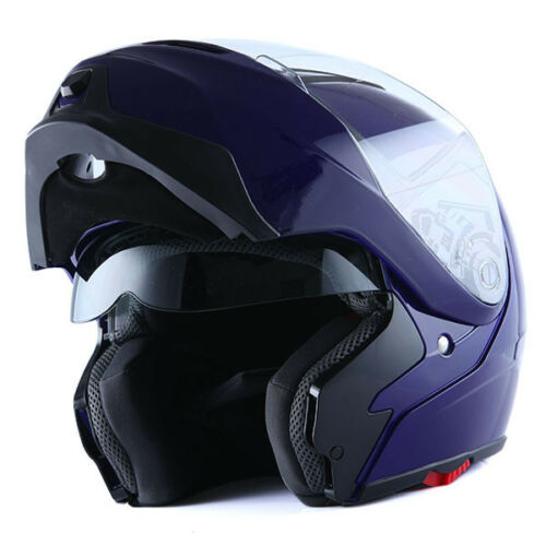 NEW 1Storm DOT Motorcycle Bike Modular Flip up Full Face Helmet Sun Visor Blue