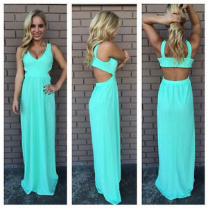 NEW LADIES WOMENS SUMMER LONG MAXI DRESS SKIRT SIZE 6-18 BODYCON ...