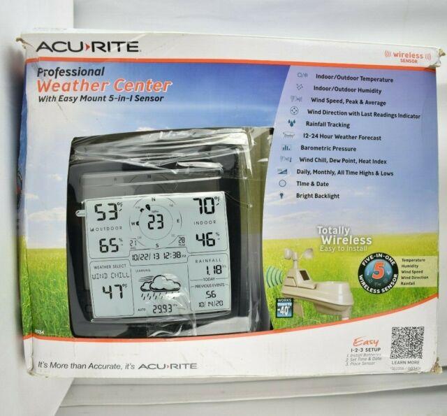 AcuRite Professional Weather Center w/ Easy Mount 5-in-1 Sensor 01534DI NOB