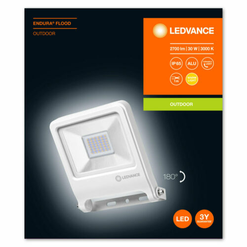 LEDVANCE Endura Flood LED 30W WT 3000K Warm white Fluter Floodlight IP65 weiss