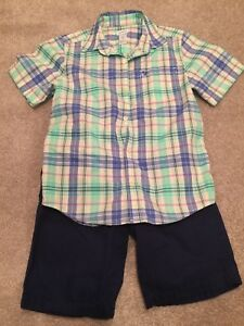 Carter-s-Boys-Size-7-Striped-Polo-And-Navy-Blue-Short-Set