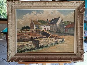 HST vue d'un village Breton Par André Bellanger XXeme. 60x45 Cm.