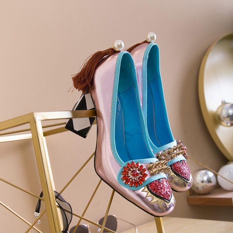 Womens Spike Sequin High Block Heel Rhinestone Rivet Round Toe Tassels shoes New
