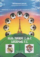 EUROPEAN CUP FINALE 1981 LIVERPOOL V REAL MADRID programma