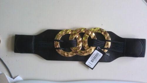 """BEBE /""""Hammered Ring Stretch Belt/"""" Black //Gold MSRP $39.00 NWT NEW"""