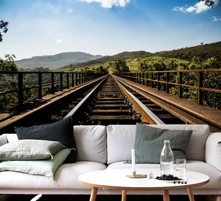 3D railway outdoor forest Wall Paper Print Decal Wall Deco Indoor wall Mural