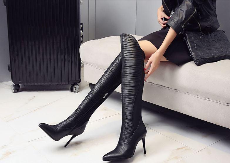 Stivaletti stivali coscia stiletto alti alti alti donna tacco 9 cm nero simil pelle caldi | Qualità Eccellente  | Scolaro/Signora Scarpa  a9a178