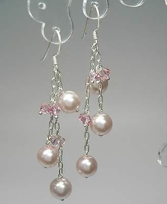 Onesto Nuovo Argento 925 Orecchini 8mm Perle Light Rose/marrone-rosa Perle Orecchini Orecchini-mostra Il Titolo Originale