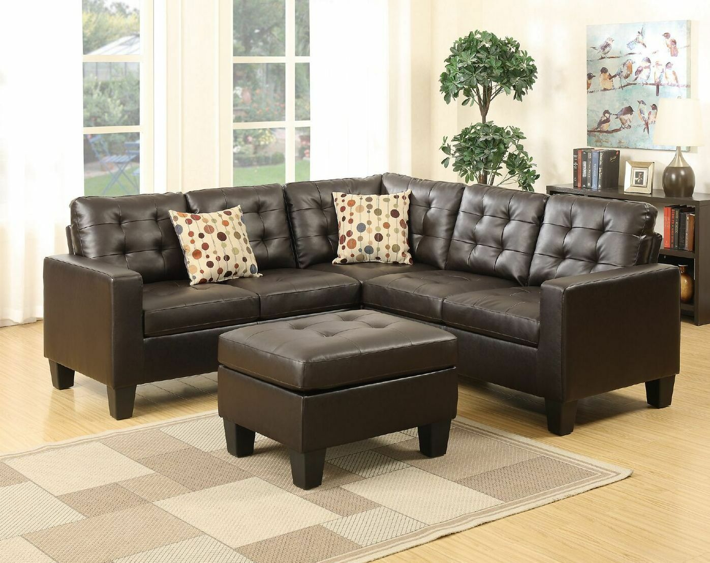Bobkona Claudia Bonded Leather 4Piece SECTIONAL with Ottoman Set in  Espresso NEW