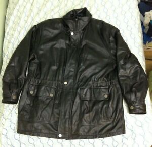 Vintage-90s-Misty-Harbor-Original-Leather-Bomb-Jacket-Heavy-Biker-Black-Lined-XL
