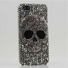 """Gray Skull Crystal Black Finished hard Case cover for apple iPhone 6 6S 4.7"""" D"""