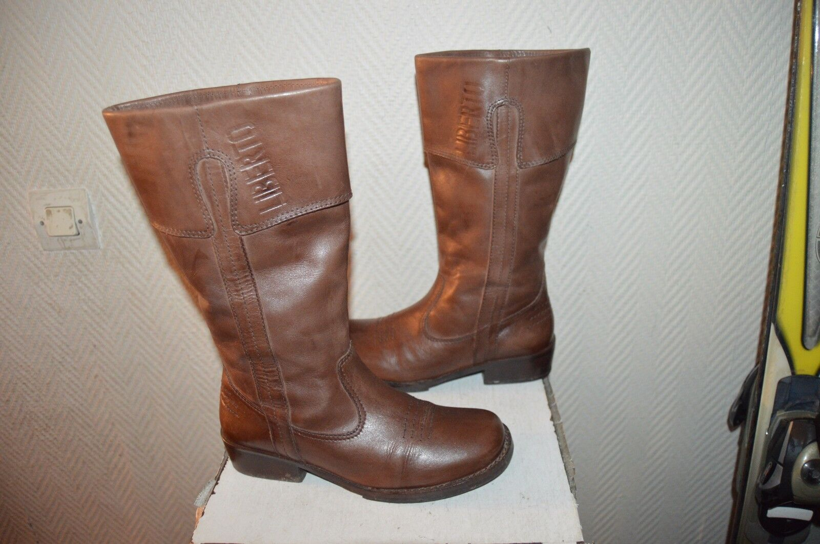BOTTES CUIR  LIBERTO  size 37 RANGERS LEATHER BOOTS BOTAS STIVALI BE