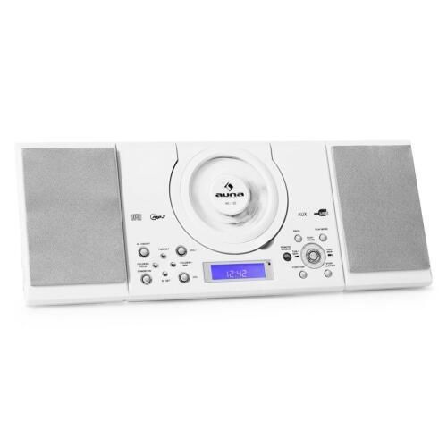 TOP AUNA MC-120 STEREOANLAGE MUSIC CENTER RADIO UHR MP3 CD SPIELER AUX USB WEIß