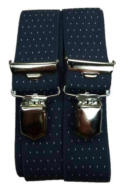eleganter schwarzer Hosenträger mit Punkten, starke,stabile Klips,35 mm breit