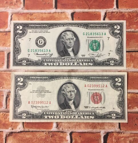 1963 $2.00 Red Seal 1976 $2.00 Bicentennial Bill CU Chicago /& 1953