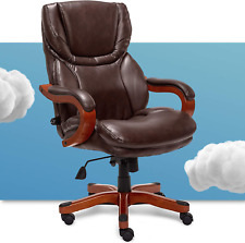 Serta Big And Tall Executive Office Chair With Wood Accents Adjustable High Back