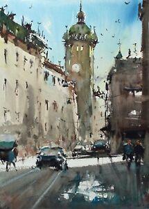 Landscape Painting Watercolor Original Brno Street Scene Square Cityscape 15x11i