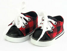 "Red & Black Plaid Sneaker Shoes Boy made for 18"" American Girl Doll Clothes"