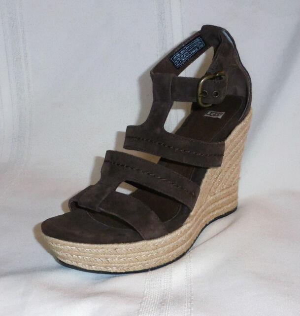 d3ef42ea83b UGG Lauri 1000403 Womens Suede Wedges Platform Sandals Shoes Size 10 Brown  for sale online