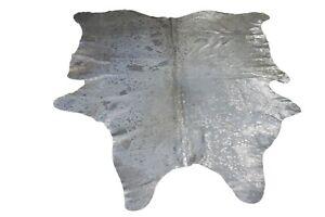 Kuhfell-Rinderfell-Stierfell-Cowhide-Metallic-Hellgrau-Silber-220-cm-x-190-cm