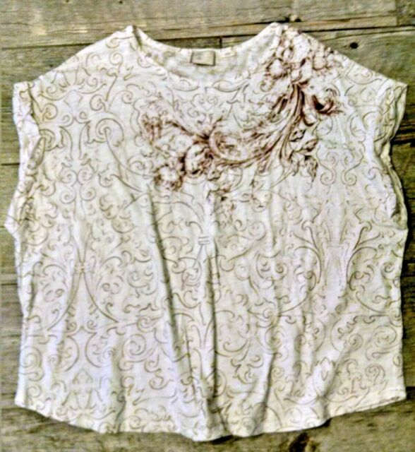 Anthropologie Postale Cotton Knit Pullover Top White Brown XL