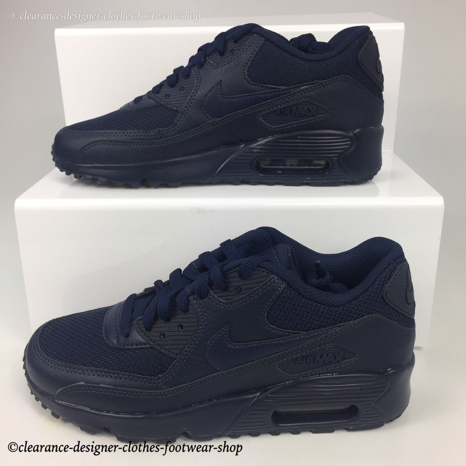 NIKE AIR MAX 90 MESH GS TRAINERS femmes GIRLS OBSIDIAN CASUAL SHOE110