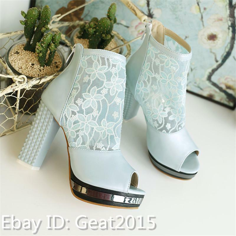 Gr28-50 Elegant Gitter Damen Blockabsatz Peep Toe Pump Gitter Elegant Hochzeit Pumps Wedge ea6673
