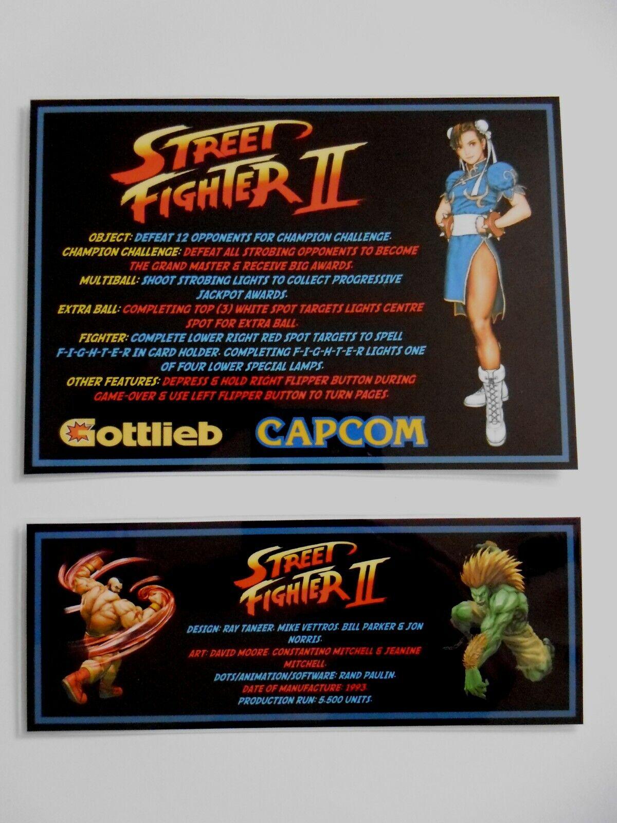 * 'STREET FIGHTER II' Gottlieb 1993 Custom Instruction/Apron Cards * (New)