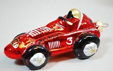 "RED RACE CAR #3 Blown Glass Christmas Ornament - 5"" x 3"""